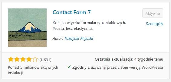 Contact Form 7 popularna TOP plugin wtyczka formularz CMS WordPress 2020